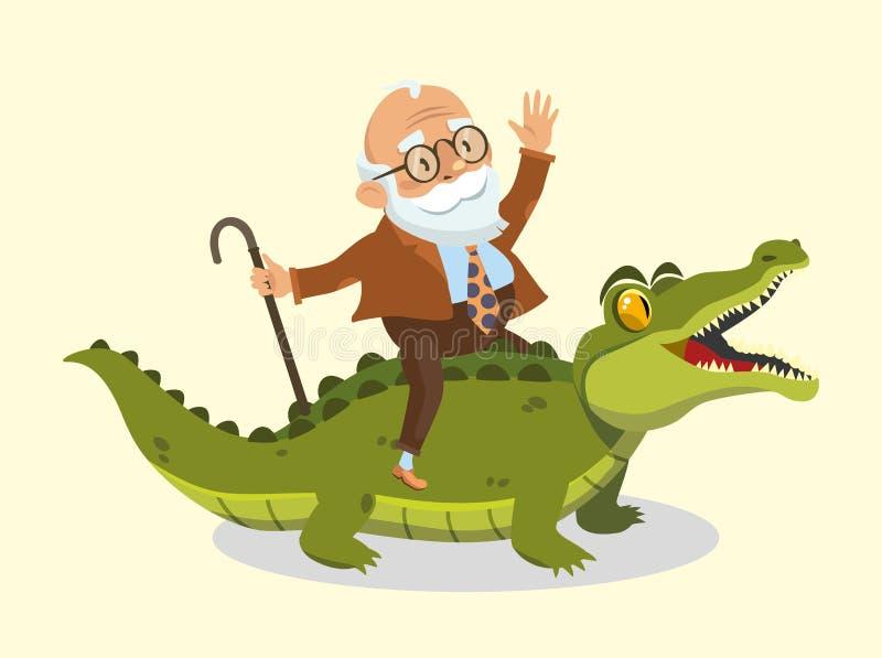 El viejo hombre divertido monta un cocodrilo libre illustration