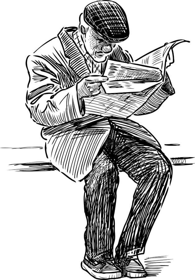 El viejo hombre lee un periódico en el banco de parque libre illustration