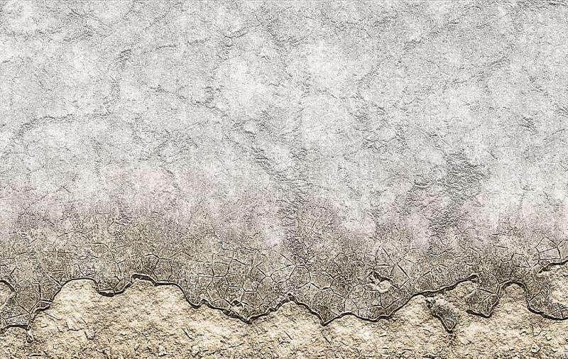 El viejo marrón enyesó textura de la migaja de la pared envejecida stock de ilustración