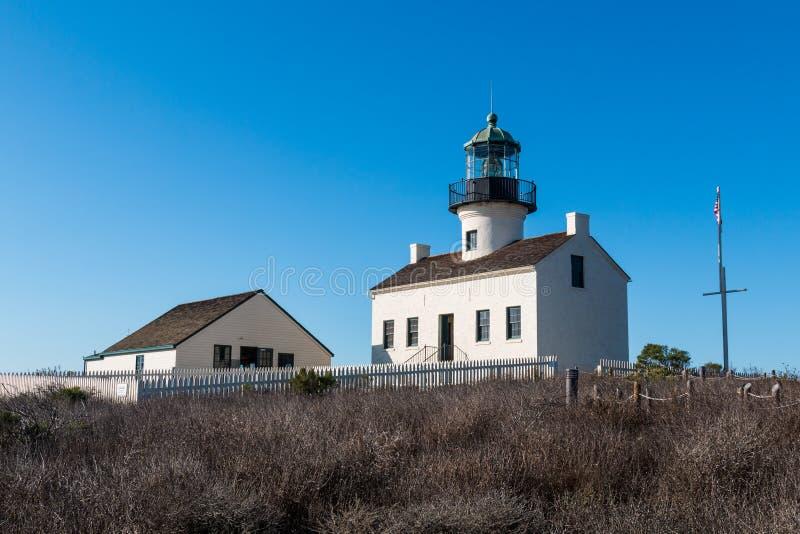 El viejo ` s del punto Loma Lighthouse y del encargado cuartea imagen de archivo