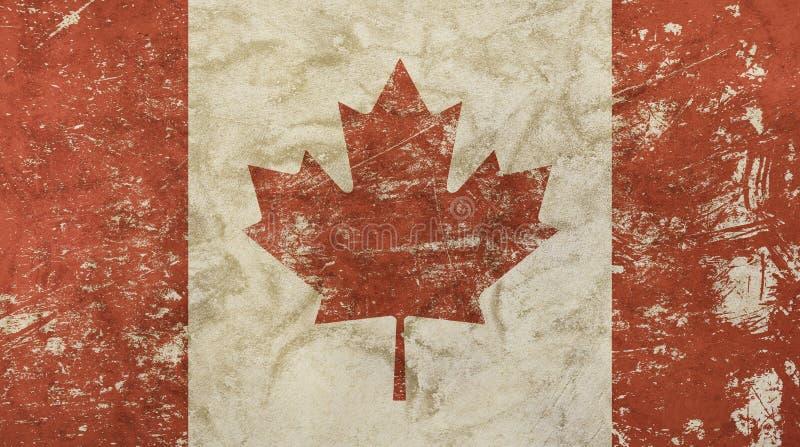 El viejo vintage del grunge se descoloró bandera de Canadá ilustración del vector