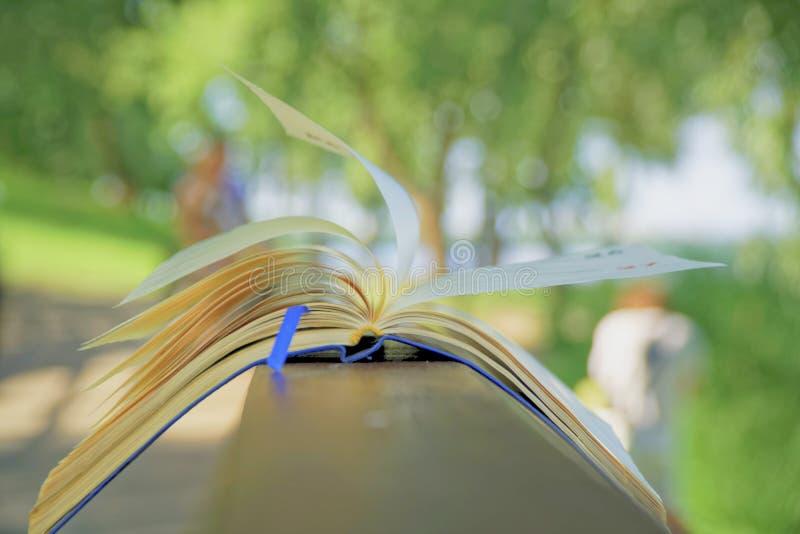 El viento da vuelta a las páginas de las mentiras abiertas del cuaderno en la barandilla de madera en parque, concepto del negoci fotos de archivo libres de regalías