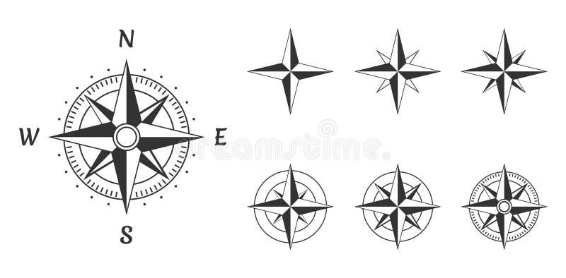 El viento del compás se levantó ilustración del vector