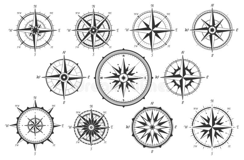 El viento se levant? Comp?s del vintage de las direcciones del mapa Iconos marinos antiguos del vector de medida del viento aisla ilustración del vector