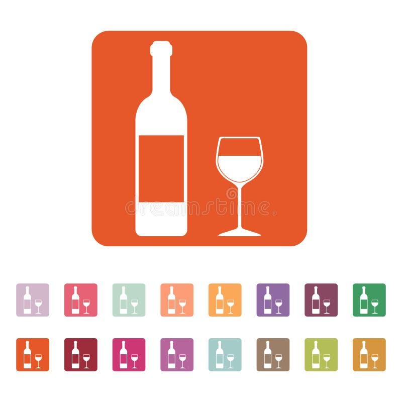 El vino de la botella y un vidrio del icono de la bebida libre illustration
