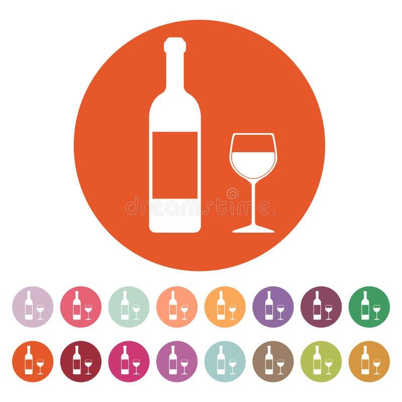 El vino de la botella y un vidrio del icono de la bebida stock de ilustración