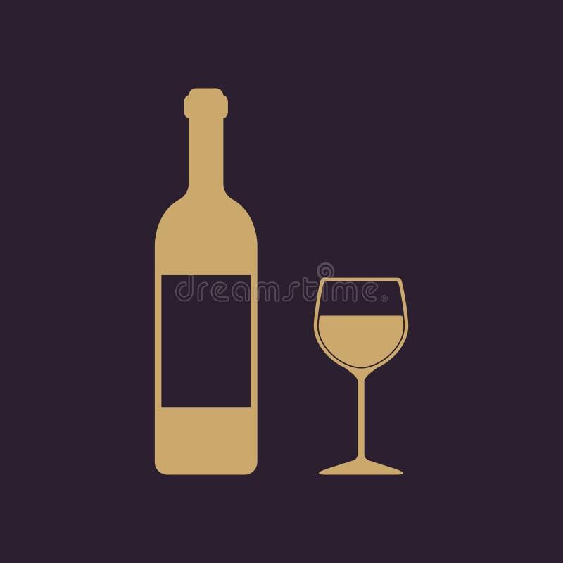 El vino de la botella y un vidrio del icono de la bebida ilustración del vector