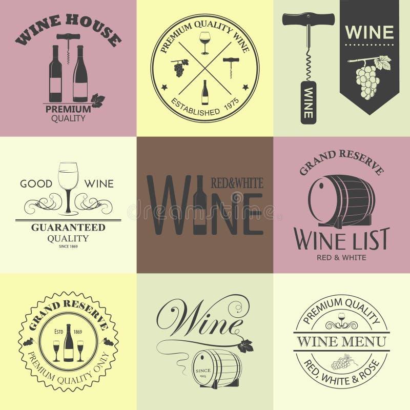 El vino del vintage simboliza la colección stock de ilustración