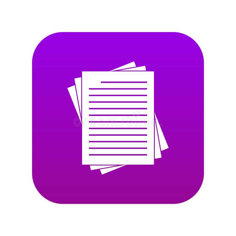 El vintage alineó púrpura digital del icono de los papeles ilustración del vector