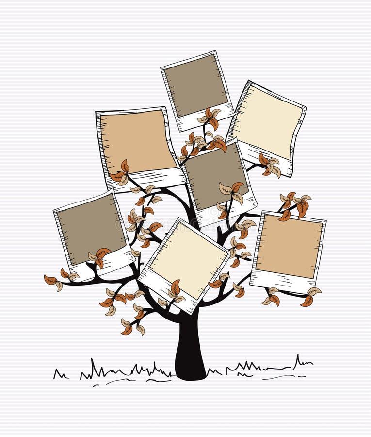 El vintage colorea el árbol inmediato de la foto stock de ilustración