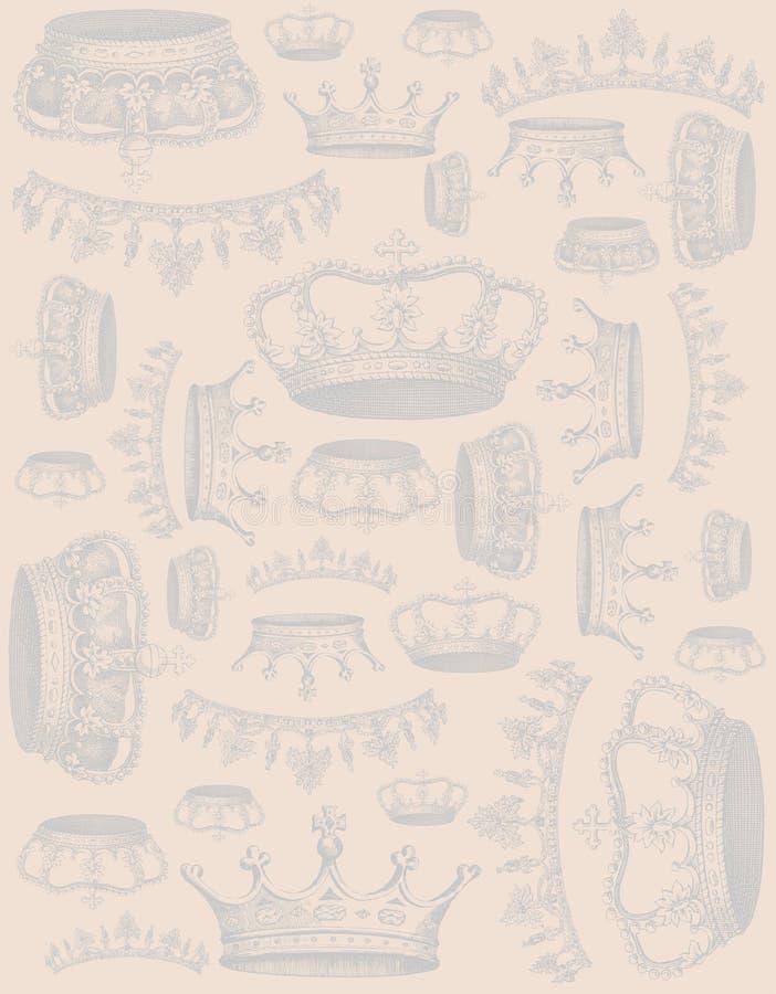 El vintage corona el fondo stock de ilustración