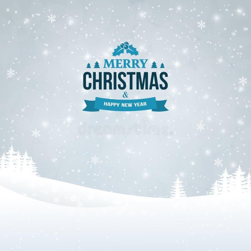 El vintage de la Feliz Navidad y de la Feliz Año Nuevo badge en el fondo del paisaje Fondo del invierno del día de fiesta con nie stock de ilustración