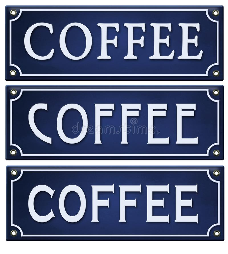 El vintage de la muestra del café esmalta la lata grabada en relieve azul del metal ilustración del vector