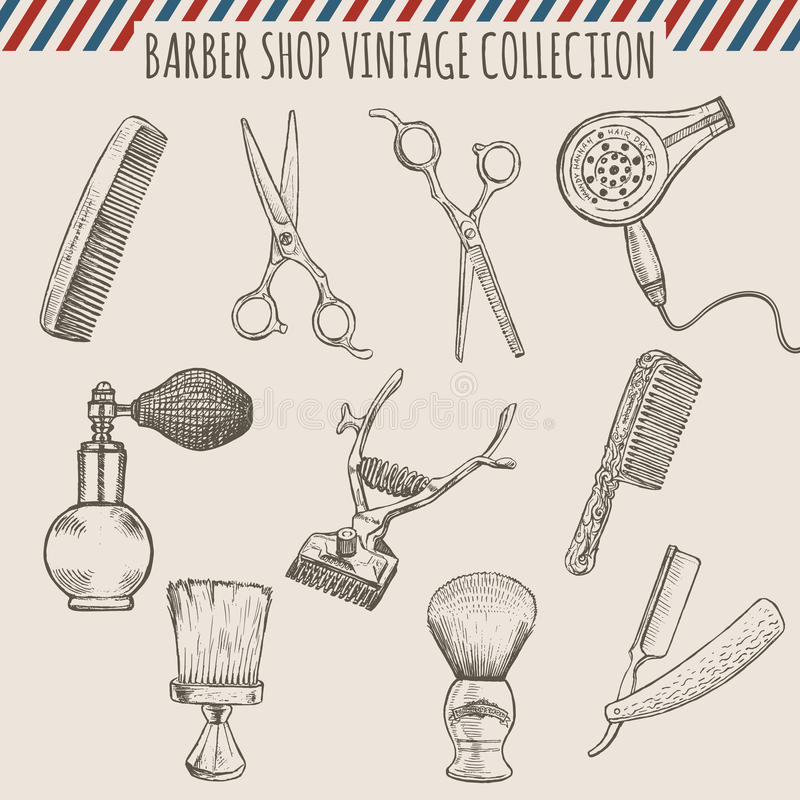 El vintage de la peluquería de caballeros del vector equipa la colección Ejemplo dibujado mano del lápiz ilustración del vector