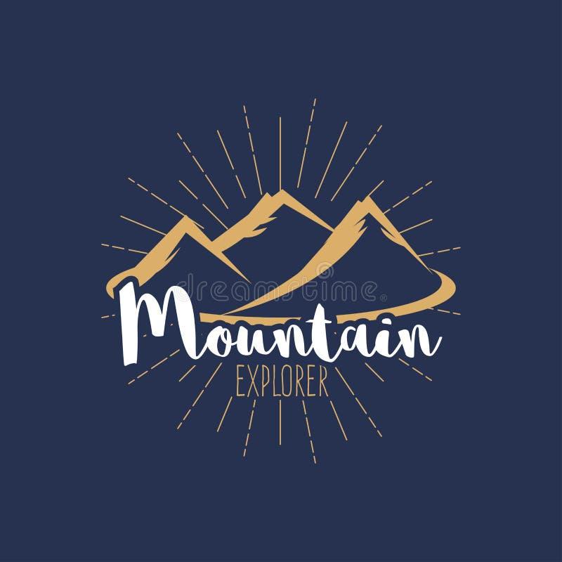 El vintage del ` del explorador de la montaña del ` estilizó el logotipo, diseño de la camiseta, insignia del inconformista, embl ilustración del vector
