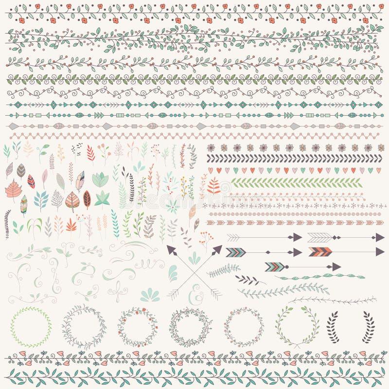 El vintage dibujado mano se va, las flechas, plumas, guirnaldas, divisores, libre illustration