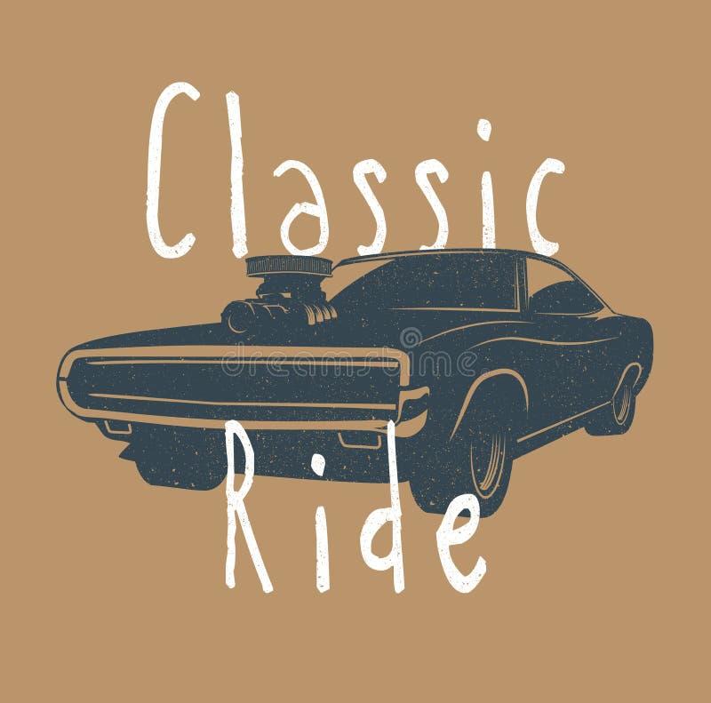 El vintage diseñó el ejemplo del vector del coche americano clásico del músculo libre illustration