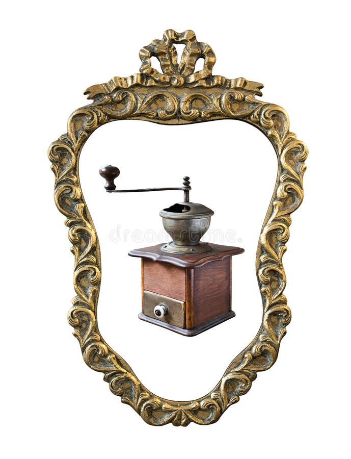 El vintage doró el marco con una amoladora de café del ornamento aislada en blanco Estilo retro imagen de archivo