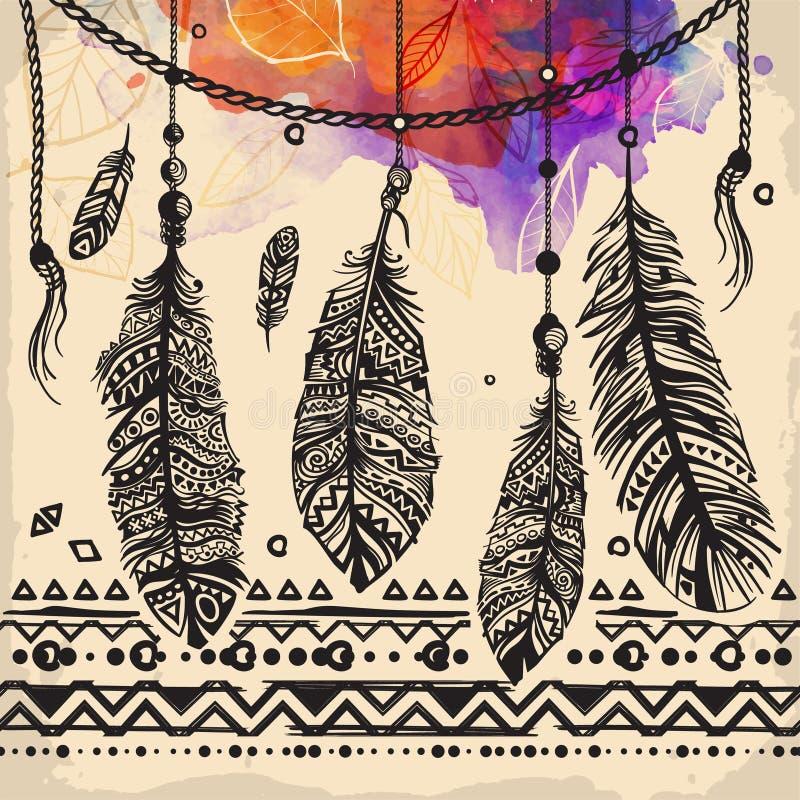 El vintage empluma el modelo étnico, diseño tribal, tatuaje, para la impresión de la tela stock de ilustración