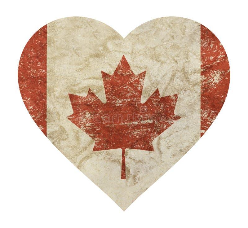 El vintage en forma de corazón del grunge se descoloró bandera de Canadá ilustración del vector