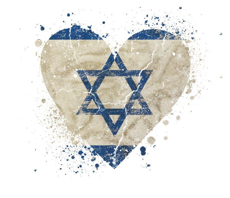El vintage en forma de corazón del grunge se descoloró bandera de Israel foto de archivo libre de regalías