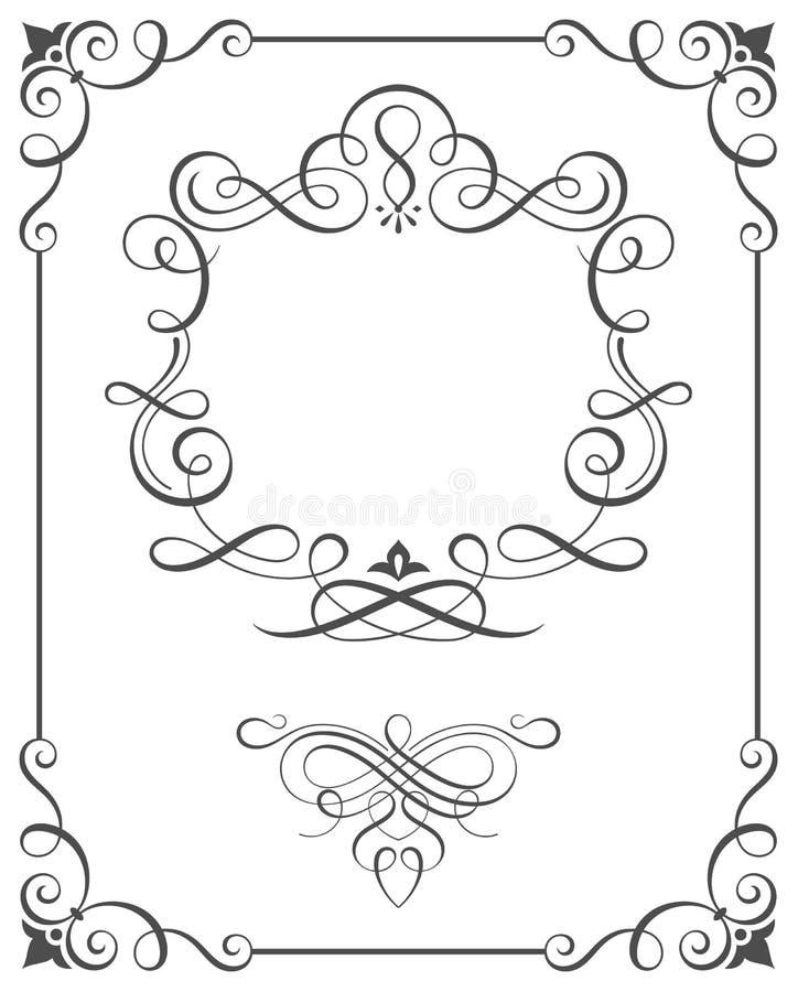 El Vintage Enmarca Caligrafía Ilustración del Vector - Ilustración ...