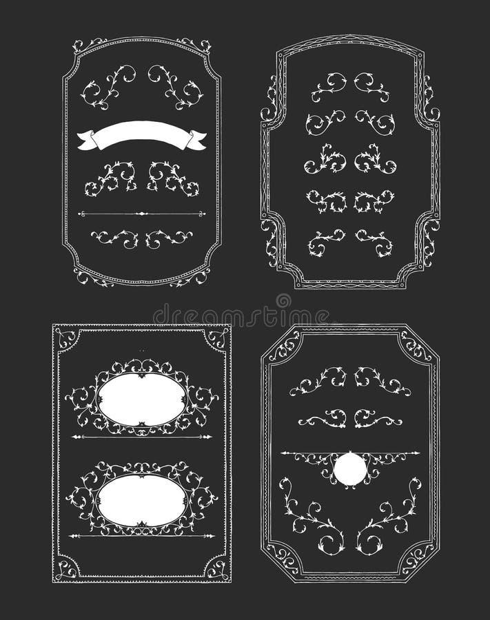 El vintage enmarca elementos ilustración del vector