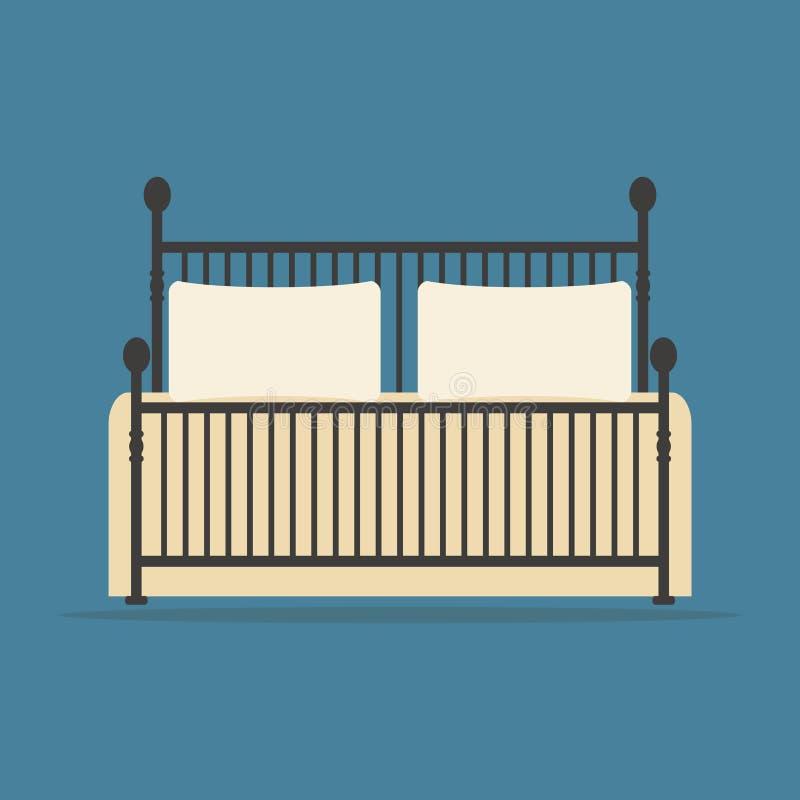 El vintage forjó la cama con las almohadas y la manta ilustración del vector