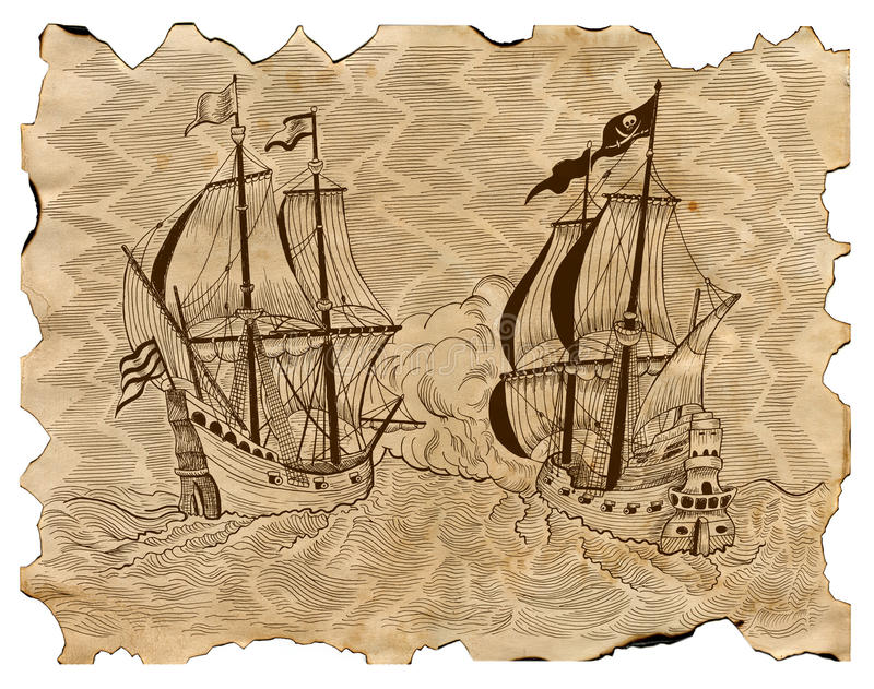 El vintage grabó el ejemplo de barcos piratas en batalla naval en el pergamino viejo stock de ilustración