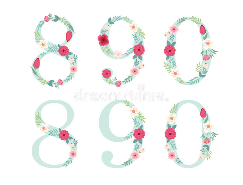 El vintage lindo numera con las flores rústicas dibujadas mano stock de ilustración