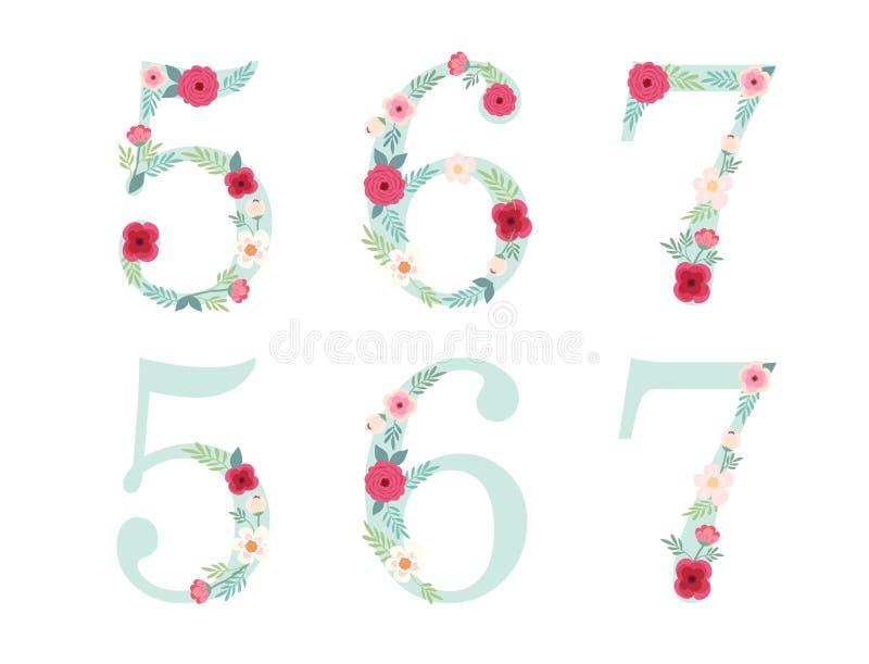 El vintage lindo numera con las flores rústicas dibujadas mano ilustración del vector