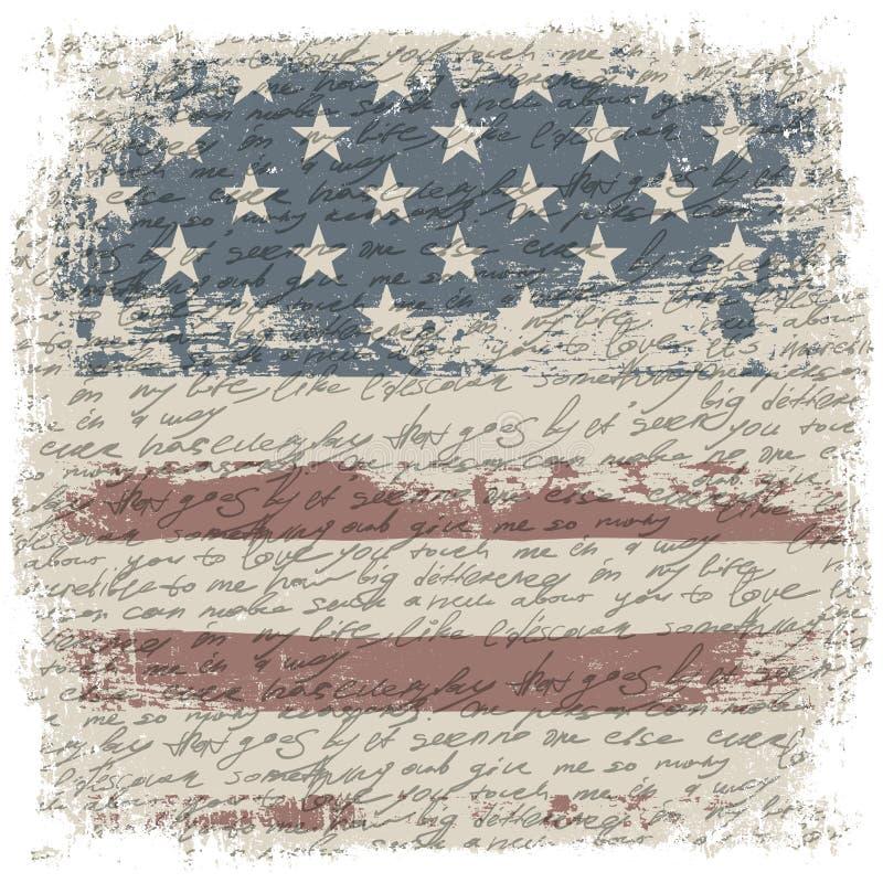 El vintage los E.E.U.U. señala el fondo por medio de una bandera con el grunge BO del aislante libre illustration