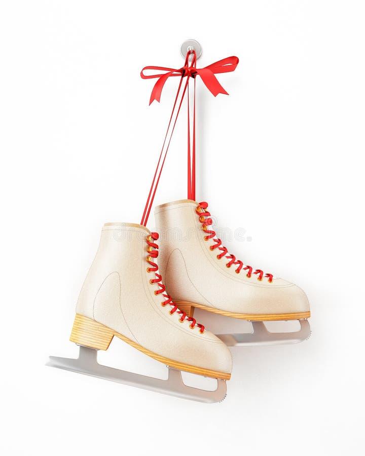 El vintage patina ejecución en la pared blanca, aislada en el fondo blanco stock de ilustración