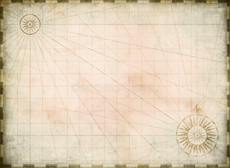 El vintage quemó el fondo en blanco del mapa del tesoro stock de ilustración