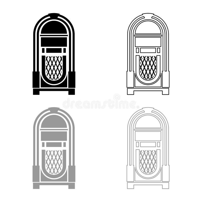 El vintage retro automatizado máquina tocadiscos del concepto de la música de la máquina tocadiscos que jugaba el esquema del ico stock de ilustración