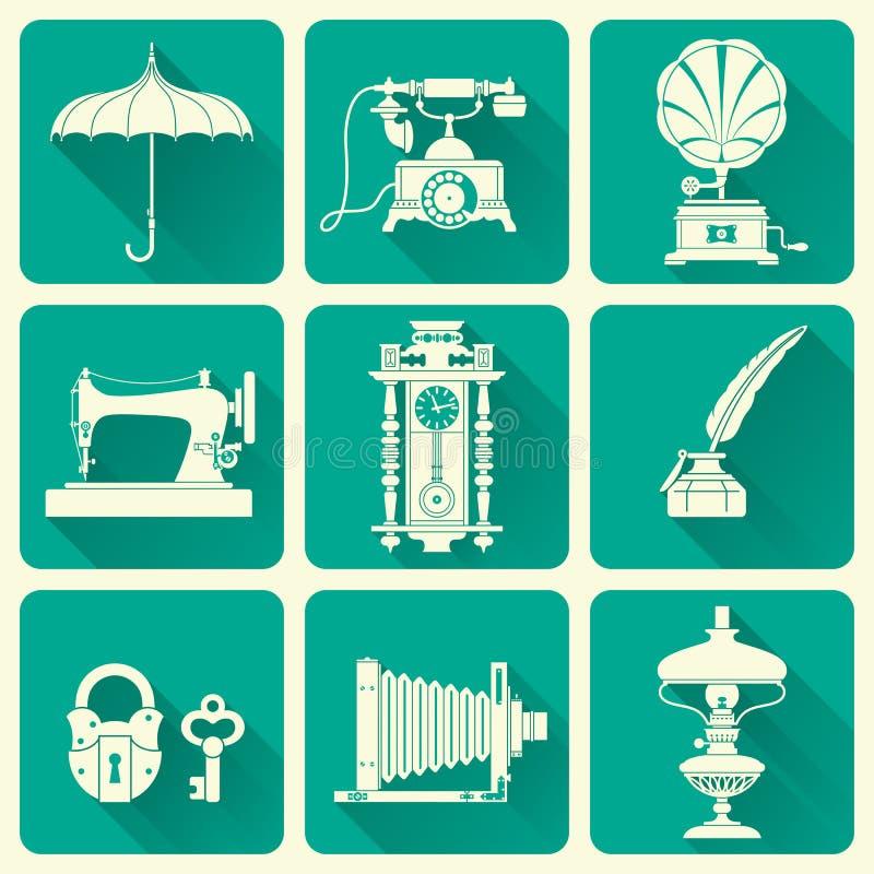 El vintage se opone iconos ilustración del vector