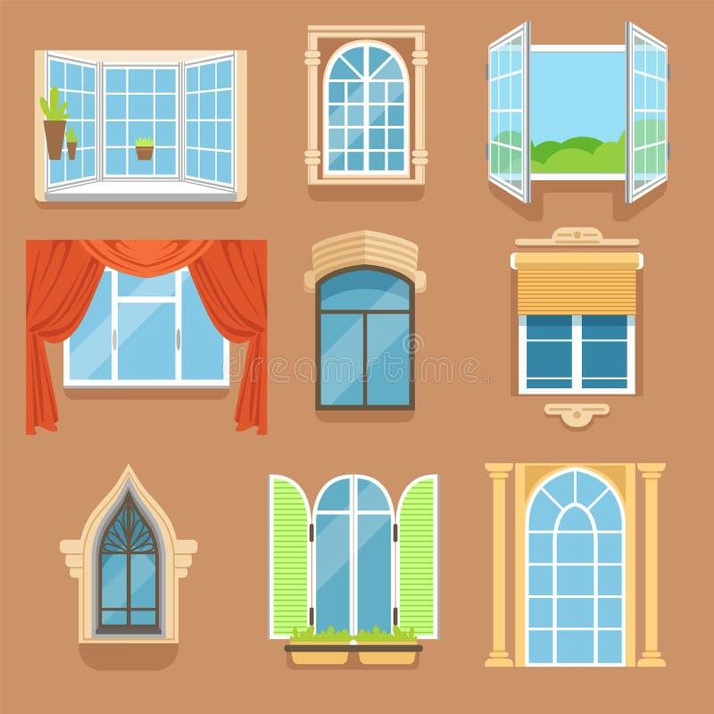 El vintage y las ventanas modernas fijaron en diversos estilos y formas Opinión exterior de los marcos de ventana stock de ilustración
