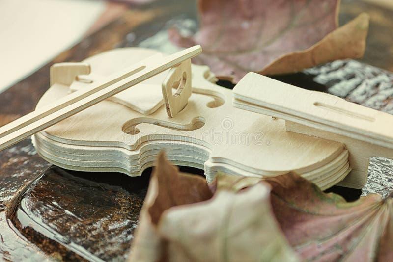 El violín y seca las hojas imágenes de archivo libres de regalías