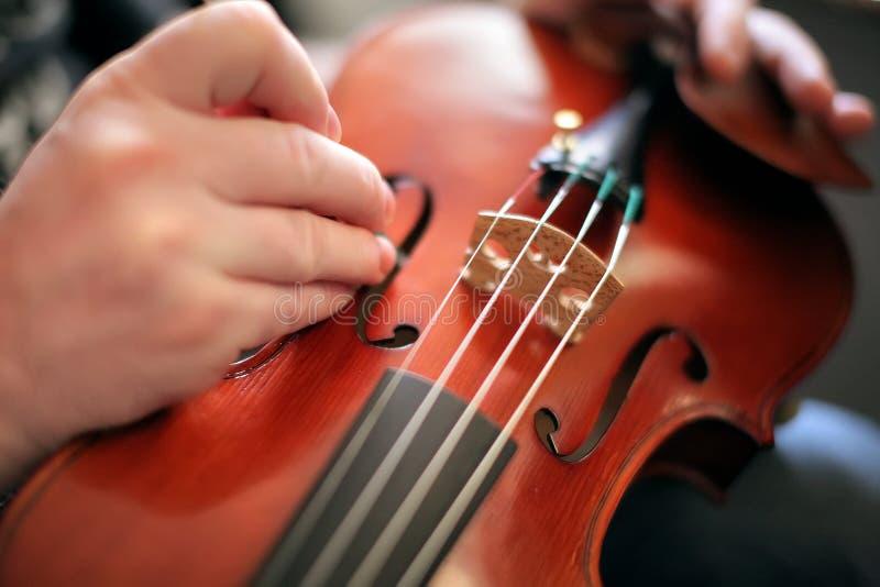 El violinista ajusta el violín foto de archivo