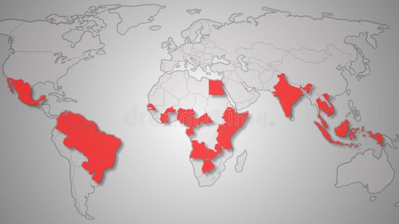 El virus de Zika separa el ejemplo del mapa del mundo imagen de archivo
