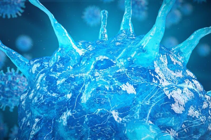 el virus del ejemplo 3d, bacterias, célula infectó el organismo, fondo abstracto del virus, virus de hepatitis en infectado ilustración del vector