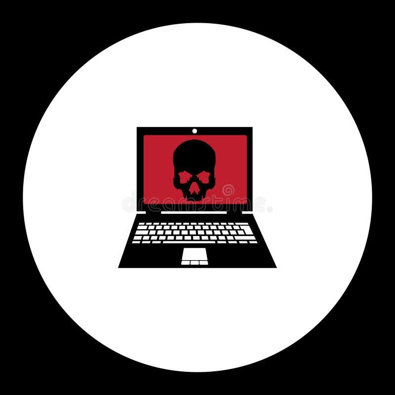 El virus negro simple infectó el ordenador portátil con el icono eps10 del cráneo libre illustration