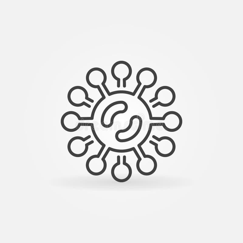 El virus o las bacterias vector el icono en la línea estilo fina ilustración del vector