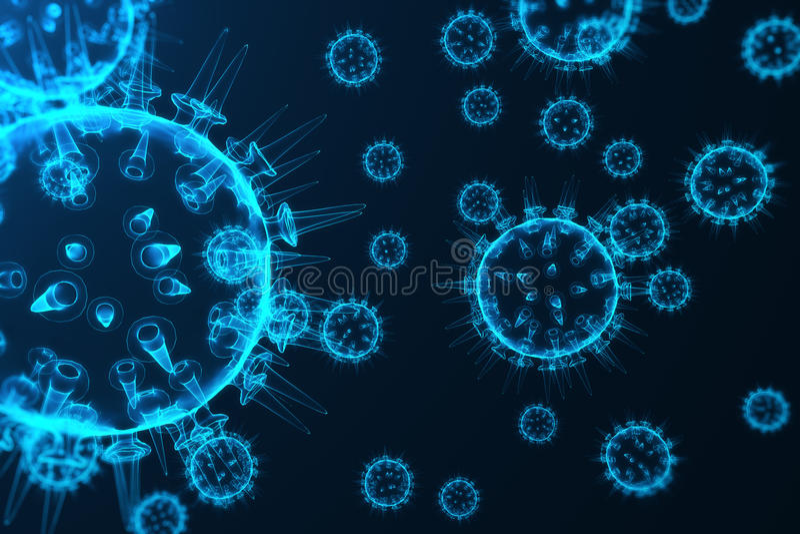 El virus y los gérmenes, bacterias, célula infectaron el organismo Virus de gripe H1N1, gripe de cerdos en fondo abstracto Virus  libre illustration