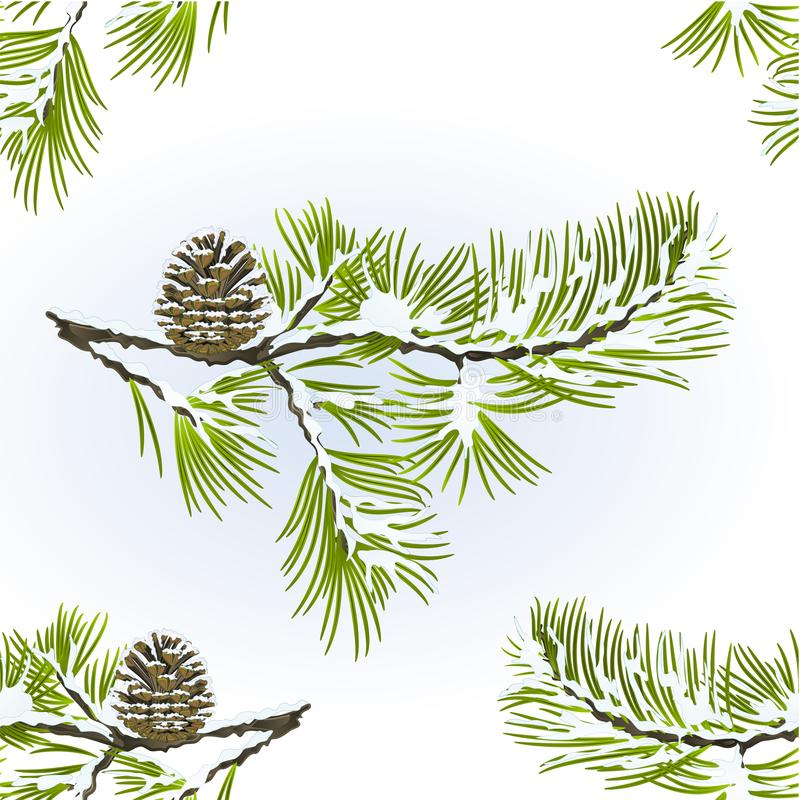 El vitage nevoso de la textura del árbol de pino inconsútil y del fondo natural del invierno de la rama del cono del pino vector  stock de ilustración
