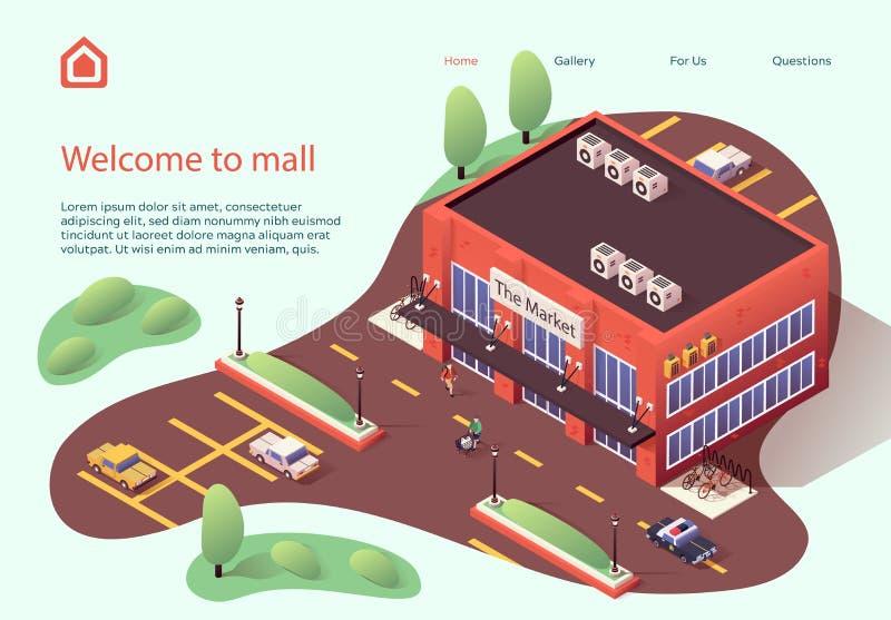El volante de invitación es escrito bienvenido al centro comercial ilustración del vector