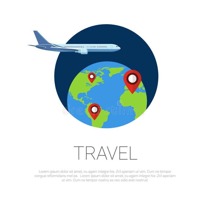El volar alrededor de indicadores del avión y del mapa del mundo en el globo de la tierra sobre el concepto blanco del viaje del  stock de ilustración