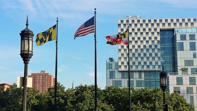 El volar arriba con las banderas de Maryland foto de archivo