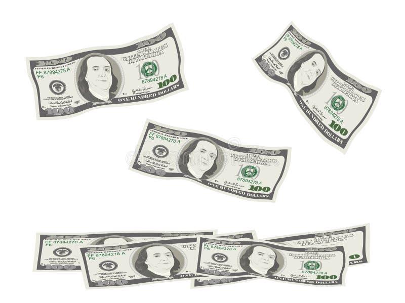 El volar, bajando 100 billetes de dólar ilustración del vector