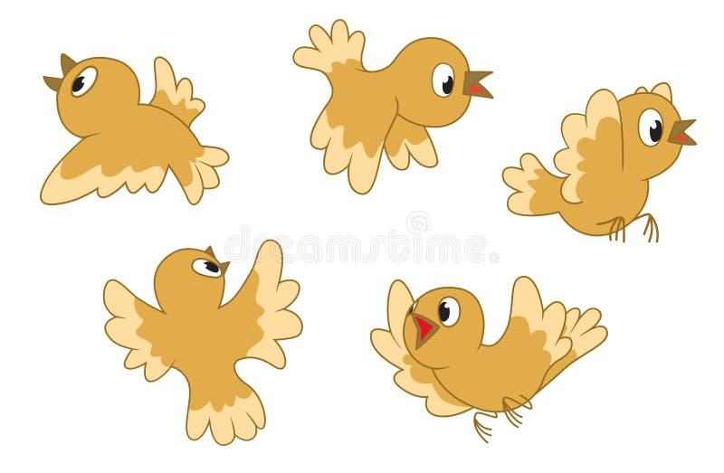 El volar de cinco pájaros ilustración del vector